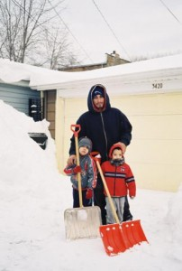 Canon A35F, Chicago Blizzard 2011, Father and 2 Sons in Snow