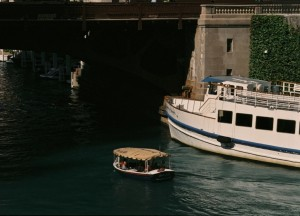 Yashica Samurai Z, Water Taxi and Big Boat, Chicago River, September 2012